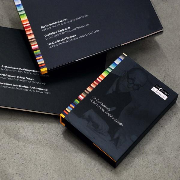 Set: Le Corbusier´s Farbenklaviaturen, Architektonische Farbgestaltung und dreireihiger Farbfächer