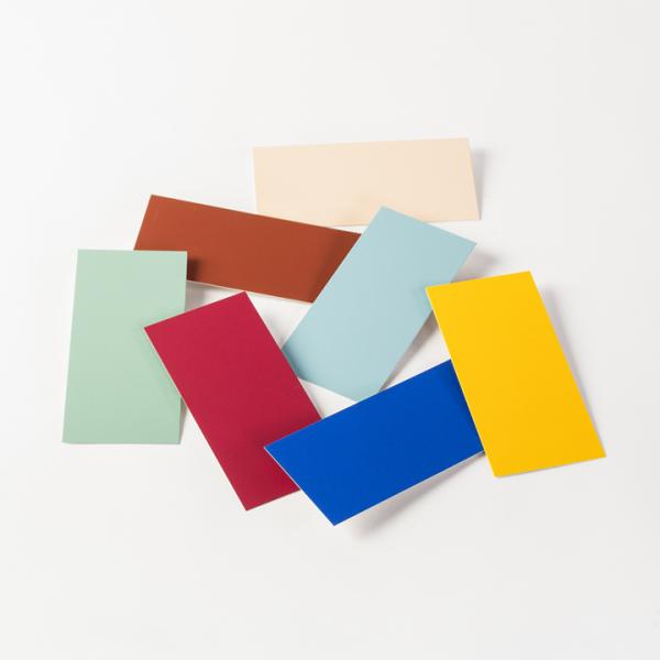 Einzelne Farbmusterkarten